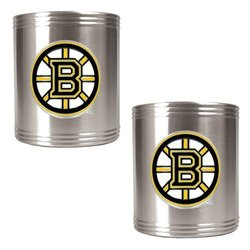 NHL Boston Bruins 2-Piece Stainless Steel Can Holder Set