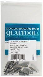 Qualtool Premium 60-TR15-10 Star T15 Tamper Resistant Insert Bit, 10-Pack