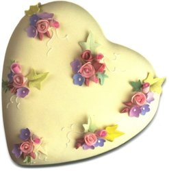 Paper House M-0138E 6-Pack Die Cut Refrigerator Magnet, Nosegay Heart Cake