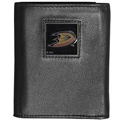 NHL Anaheim Ducks Deluxe Leather Tri-Fold Wallet - Black