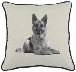 Spice Home D cor Graphics Dog Linen and Cotton Blend Throw Pillow, German Shepherd, 17-Inch