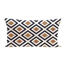 E By Design Diamond Mayhem Geometric Print Cushion - Caramel - Size: One