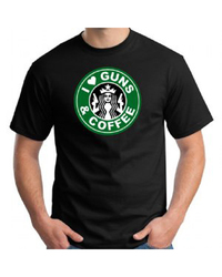 GunShowTees I Love Guns & Coffee T Shirt - Black - Size: Xlarge