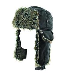 ZANheadgear Trooper Hat with Grey Fur (Solid Black, One Size)