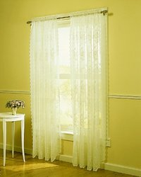 Easy Care Fabrics Lace Window Curtain Drape Panel Treatment, 54 by 84-Inch, Ivory