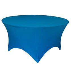 "LA Linen Round Spandex Tablecloth - Turquoise - 72"" x 30"" High"