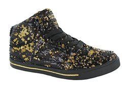 Gotta Flurt Girl's Dance Top Sneakers - Black/Gold - Size: 12