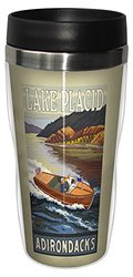 Tree-Free Greetings sg23161 Vintage Lake Placid Adirondacks Motorboat by Paul A. Lanquist Stainless Steel Sip 'N Go Travel Tumbler, 16-Ounce
