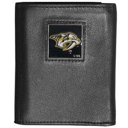 NHL Nashville Predators Deluxe Leather Tri-Fold Wallet - Black