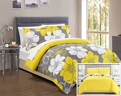Chic Home 3 Piece Morning Glory Abstract Large Scale Floral Printed Duvet Cover Set with 2 Shams, King, Yellow