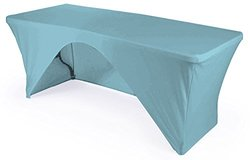 LA Linen Open Back Spandex Tablecloth - Blue Light