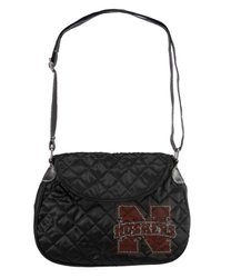 NCAA Nebraska Cornhuskers Sport Noir Quilted Saddlebag Purse - Black