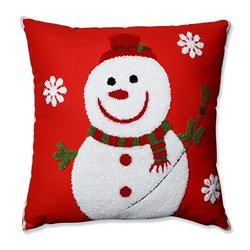 "Pillow Perfect 16.5"" Snowman Throw Pillow - Red"