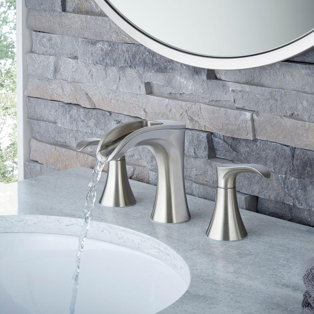 Pfister Brea 8 Widespread 2 Handle Waterfall Bath Faucet Brushed Nickel