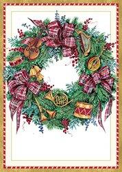 "Caspari Musical Wreath Christmas Cards (Box of 16) - 4 by 5-3/4"""