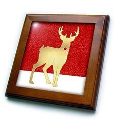 """8""""x8"""" Red Nosed Reindeer Framed Ceramic Tile"""