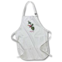 "3dRose Bright Red Raspberries The Vine Botanical Apron - 22""X30"" - White"