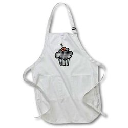 Houndstooth Pattern Cupcake - Medium Length Apron, 22 by 24-Inch, with Pouch Pockets (apr_106957_2)
