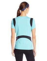 Skirt Sports Women's Peek-A-Boo Running Tee Shirt - Blue Ice - Size: S