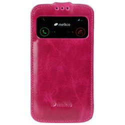 Melkco Leather Case for Samsung Galaxy S4 - Dark Red Wax