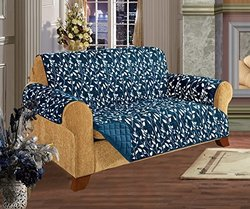 Quilted Furniture Protector Slip Cover - Leaf Design Navy - Sofa