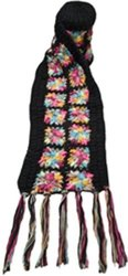 Nirvanna Designs SC07 Flower Crochet Multi Color Scarf, Black Multi