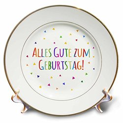 cp_202027_1 Alles Gute Zum Geburtstag Happy Birthday in German Colorful Text Porcelain Plate, 8""