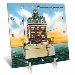 Southwest Ledge Light, New London, Connecticut. Lighthouse - Desk Clock, 6 by 6-Inch (dc_169564_1)