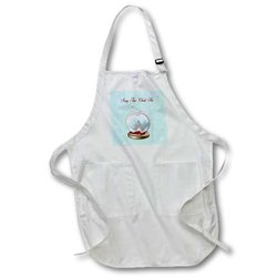 """apr_160036_2 Snow Globe Deer, Tree and Snowflakes, Merry Christmas in Korean Medium Length Apron, 22 by 24"""", with Pouch Pockets"""