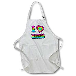Groovy Hippie Rainbow I Heart Love Nachos - Medium Length Apron, 22 by 24-Inch, with Pouch Pockets (apr_217467_2)