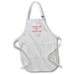 "apr_172350_2 Every Day I'm Shufflin, Picture of Deck of Cards, Orange Lettering Medium Length Apron, 22 by 24"", with Pouch Pockets"