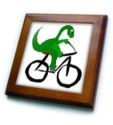 "8""x8"" Funny Green Brontosaurus Dinosaur Riding Bicycle Framed Tile"