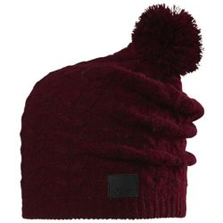 Chaos Women's Cashmere Beanie with Cable Pom, Wine, One Size
