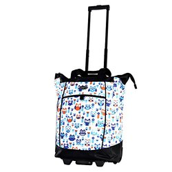 Olympia USA Fashionista Rolling Shopper Tote - Blue Owls