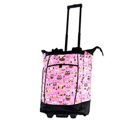 Olympia USA Fashionista Rolling Shopper Tote: Pink Owls