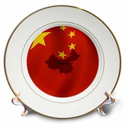 cp_204504_1 Chinese Flag Porcelain Plate, 8""