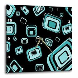 "3dRose 10""x10"" Retro Squares Pattern - Turquoise"