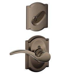 Schlage F94STA620CAMRH Antique Pewter Interior Pack St. Anne's Lever Right Handed Dummy Interior Pack with Deadbolt Cover Plate and Decorative Camelot Rose