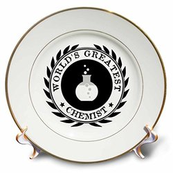cp_164892_1 Worlds Greatest Chemist Chemistry Job Pride Black Badge Graphic Porcelain Plate, 8""
