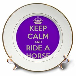 cp_171907_1 Keep Calm and Ride a Horse, Purple and White Porcelain Plate, 8""