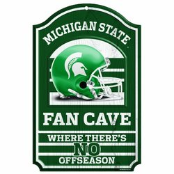 NCAA Michigan State Spartans 11-By-17-Inch Fan Cave No Offseason Wood Sign