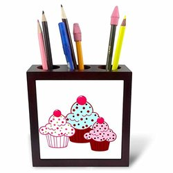 ph_35928_1 Trio of Cupcakes Tile Pen Holder, 5""