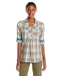 Royal Robbins Women's Sugar Pine Plaid Tunic Shirt, Taupe, Medium