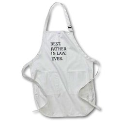 """Best Father in Law Ever"" Full-Length Apron with Pockets - White"