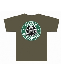 Men's Guns & Coffee T-Shirt - Olive Drab Green - Size: Medium