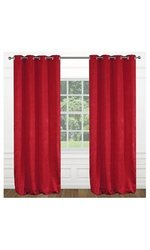 "Modern Floral 54""x95"" inch Raindrops Grommet 2-Piece Curtain Set - Red"