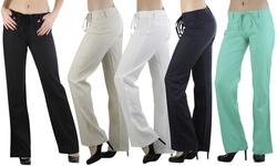 ToBeInStyle Women's Linen Pants - Heather Dye-Navy - Size: Small