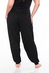 White Mark Women's Plus Harem Pants - Black - Size: 1XL