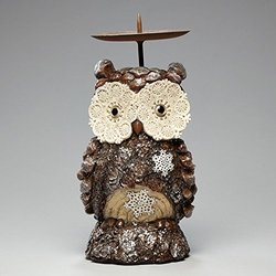 Enesco Snowy Grove Owl Candleholder 8.4-Inch