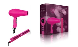 "Radiant Gift Set: Dryer And 1.25"" Ceramic Iron - Pink"